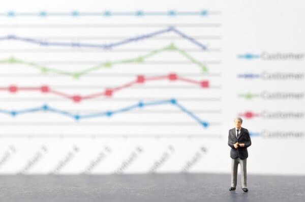 ミニチュアのビジネスマンとグラフ